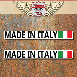Made in Italy Stickers 2x 100x12mm Car Motorbike Vespa Fiat Lancia Italian Decal