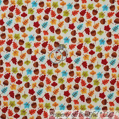 BonEful FABRIC FQ Cotton Quilt Calico Fall Color Thanksgiving Acorn Leaf Tree US