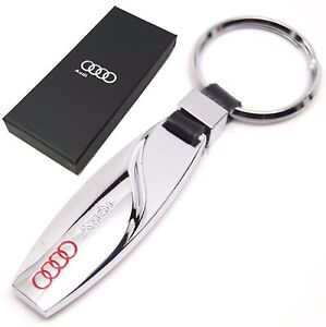 audi porte cl s cha ne a3 a4 a6 tt ring fob m tal chrome new avec coffret cadeau ebay. Black Bedroom Furniture Sets. Home Design Ideas