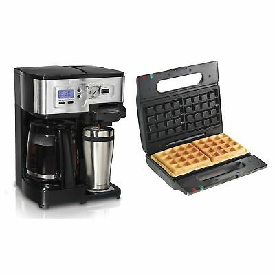 Hamilton Beach FlexBrew 12 Cup Coffee Maker + Proctor-Silex Belgian Waffle Maker