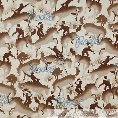 BonEful Fabric FQ Cotton Flannel Quilt Cream Brown VTG Cowboy Rodeo Pony Express ()