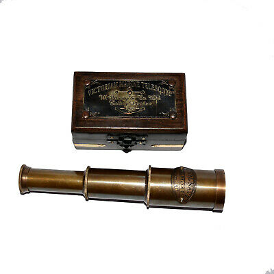 Vintage Hand Made Two Ton Black Antique Pirate Spyglass Brass Telescope /& Stand
