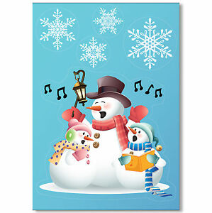 Singing-Snowmen-Vinyl-Window-Sticker-32-Snowflake-Clings-Christmas-Decorations