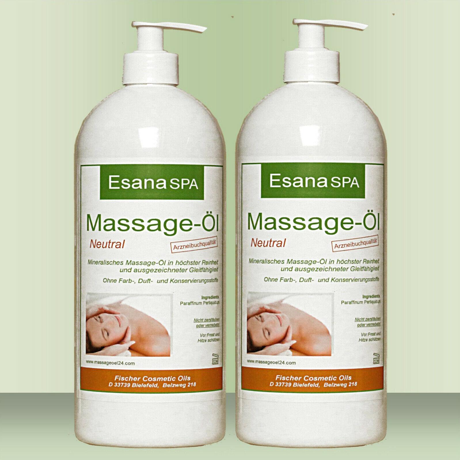 Esana SPA Massageöl neutral sanft & soft für Wellness/Physio 2x 500ml, +Pumpen