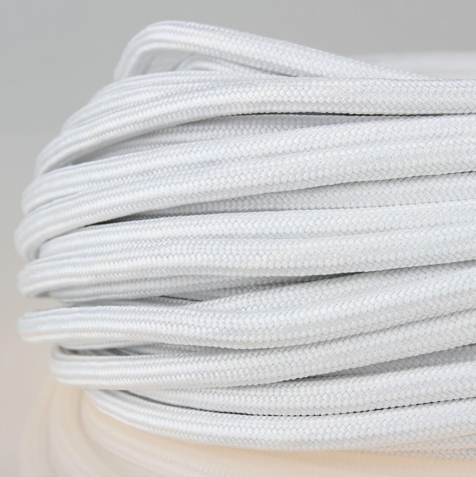 und H/ängeleuchten Stromkabel mit Stoff Lampenkabel 3m Textilkabel Silber 3-adrig 0,75mm/² Stoffkabel f/ür Pendel