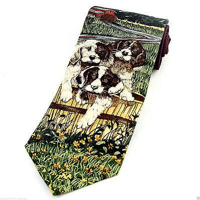 Endangered Species Mens Silk Necktie Spaniel Puppy Dog Animal Pet Neck Tie - Spaniel Tie