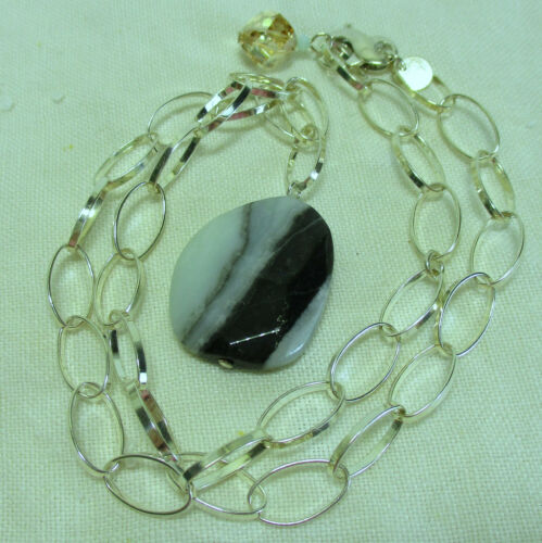 Necklace Emily Ray Sterling Silver Jasper Stone Chain 18 inches long