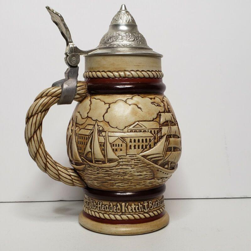 Vintage 1977 Avon Sailboat Beer Stein Ceramic Mug #4