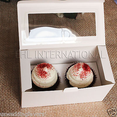 Pack of 5pcs Cupcake Muffin Boxes WHITE W/Insert 2 Holes Party Favor Bakery