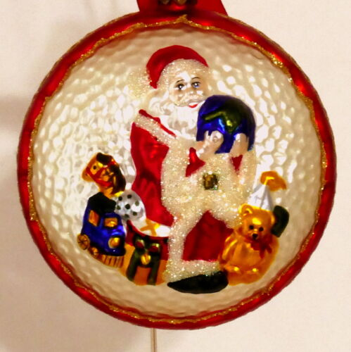 Christmas Ornament WATERFORD HEIRLOOMS SANTA Disc Sitting World Toys USA SELLER