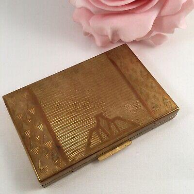 Vintage Art Deco Zenette Gold Powder Compact Handbag Purse Makeup Accessory