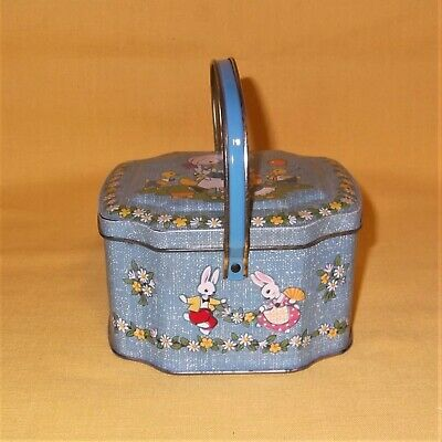 VINTAGE HORNER ENGLISH TIN CANDY PAIL EASTER BASKET BUNNY RABBITS