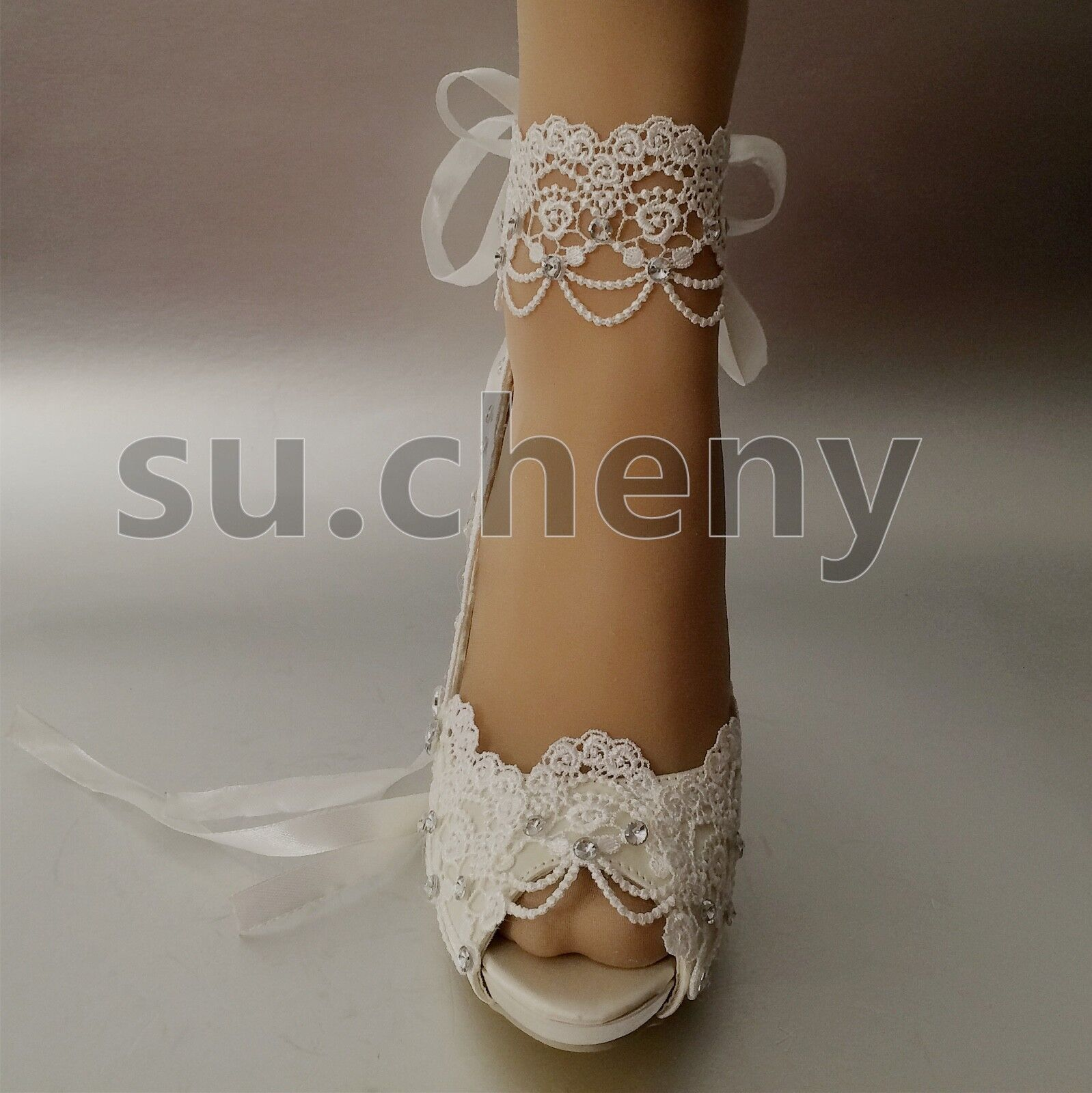 ace40f92ce5 su.cheny 3 4 heel white ivory satin lace ribbon peep toe Wedding Bridal  shoes