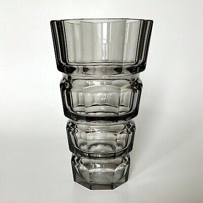 Antique Moser Glass Josef Hoffmann Smoke Glass Vase Czech
