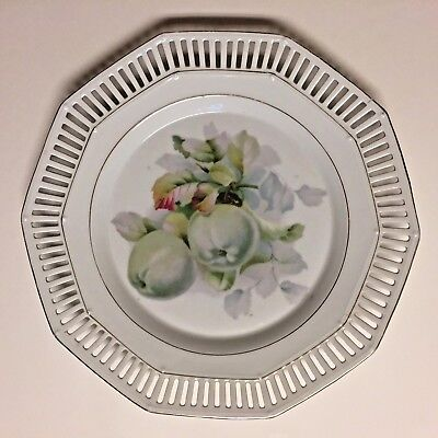 MW Co. Mitchell Woodbury Company Hand Painted Plate Apples Reticulated Germany