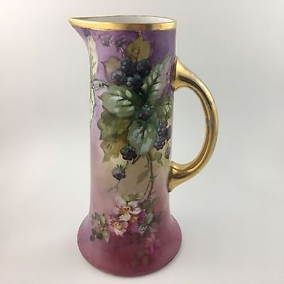 Antique French Hand Painted JP Limoges Tankard Water Pitcher Blackberry