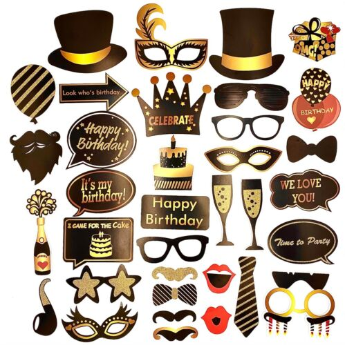 35Pcs Birthday Party Photo Booth Props Funny Decoration Selfie with Stick Holder