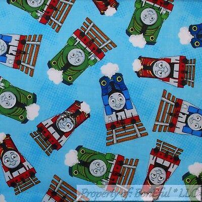 BonEful FABRIC Cotton Quilt Blue White Red Thomas the Tank Engine Train SCRAP