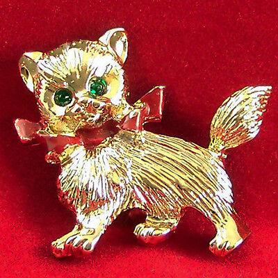 Vintage Gerry's Pin Kitty Cat Enamel Green Eyes Rhinestones Goldtone Brooch Cute