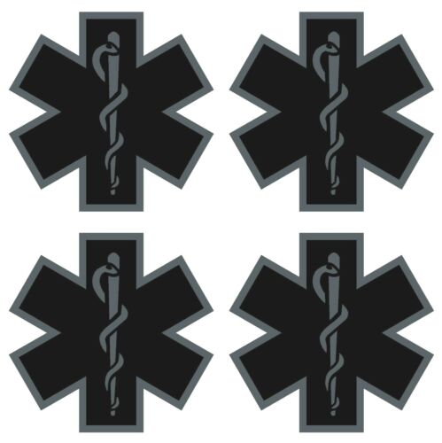 FOUR Black Subdued Reflective Star Of Life Fire Helmet Decal EMS EMT 2 inch