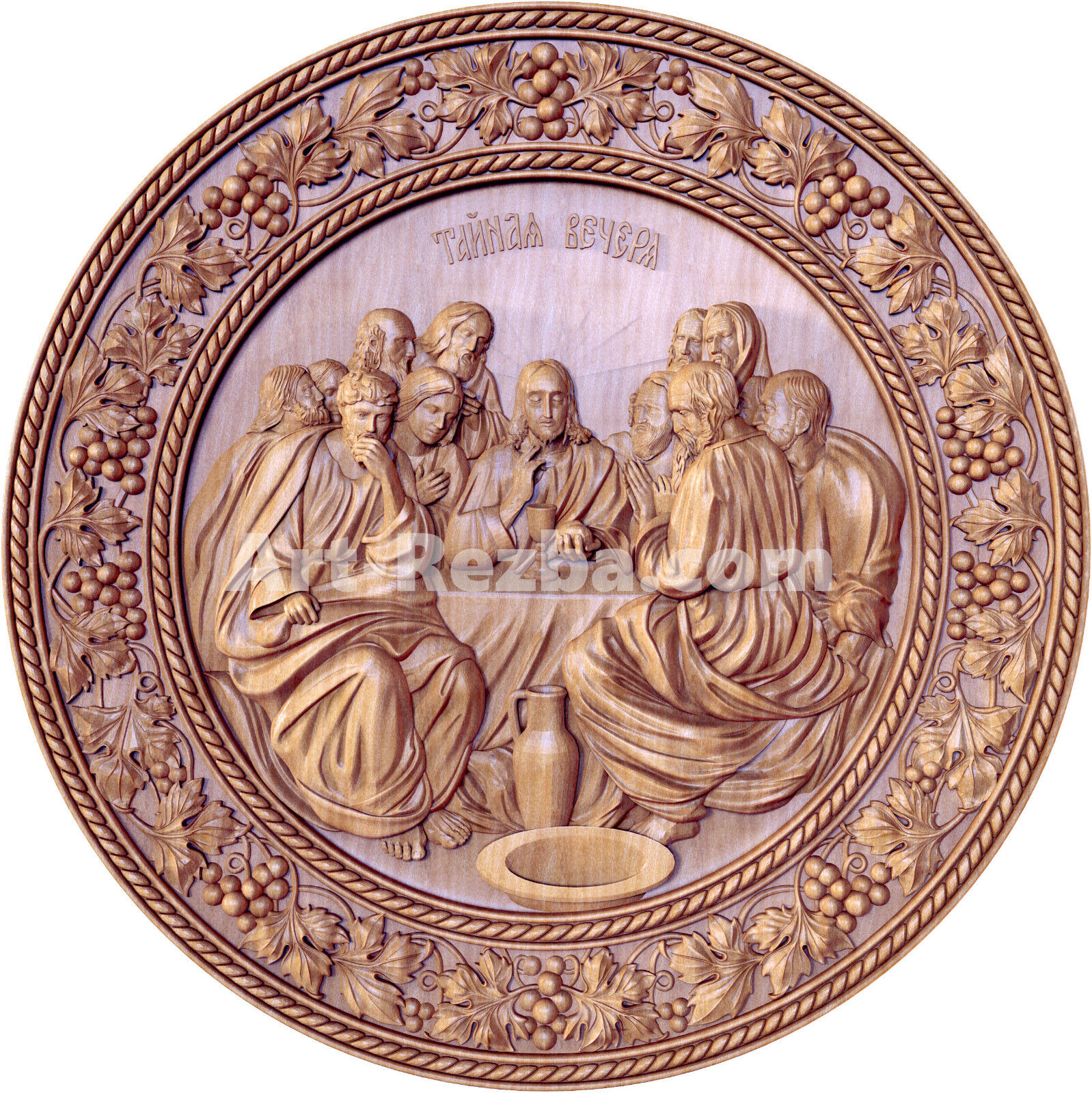 Mid th century carved wood panel of supper at emmaus with pair