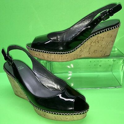 STUART WEITZMAN Jean Black Patent Leather Sling Peep Cork Wedge Sandal Shoes 10