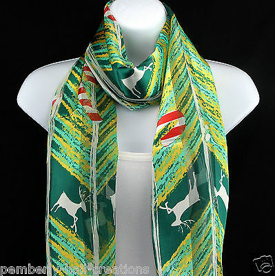 Candy Cane Reindeer Women's Scarf Christmas Xmas Holiday Green Gift Scarves - Candy Cane Scarf