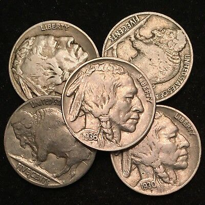 Buffalo Nickels - Full Dates (5-Coin Lot)