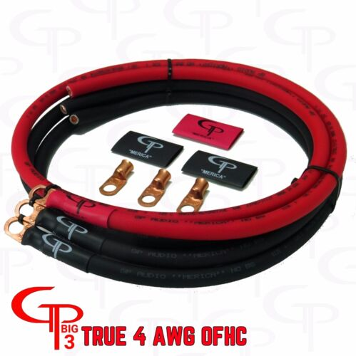 GP Car Audio Big 3 UPGRADE Kit OFC PURE COPPER 4 AWG GAUGE Red and Black
