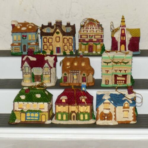 Christmas Ornament Ceramic House BRU Lot of 10 Assorted Heavy RANA