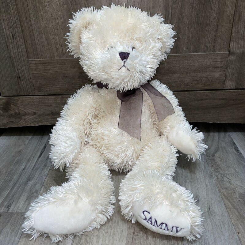 "RBI Ron Banafato Plush Bear Cream Stuffed Animal Fuzzy Purple Bow 13"" Sammy"