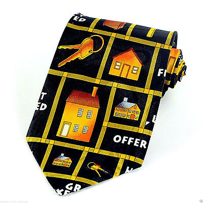 House For Sale Mens Necktie Real Estate Black Neck Tie Agent Realtor Gift New