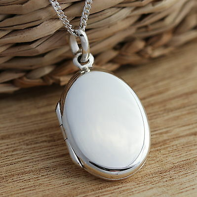 Solid 925 Sterling Silver Oval Plain Photo Locket Pendant Necklace Jewellery - Plain Oval Locket Pendant