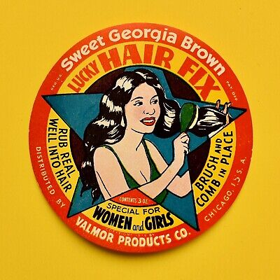 VINTAGE 1939 SWEET GEORGIA BROWN African American LUCKY HAIR CARE Label Chicago