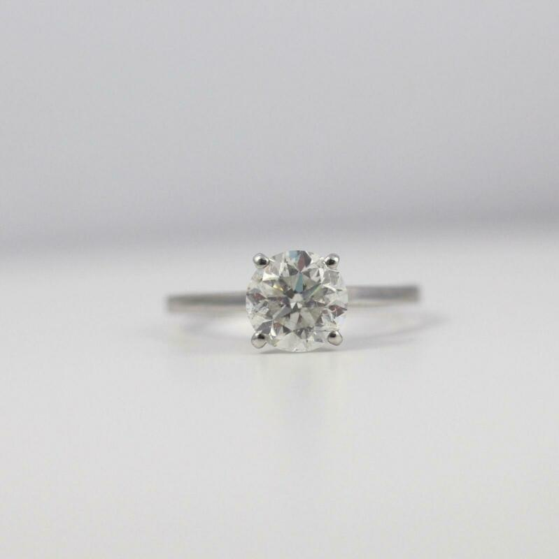 Diamond Round Cut Ring 1.15 Carats Colorless Si1 D 18k White Gold Agi Certified