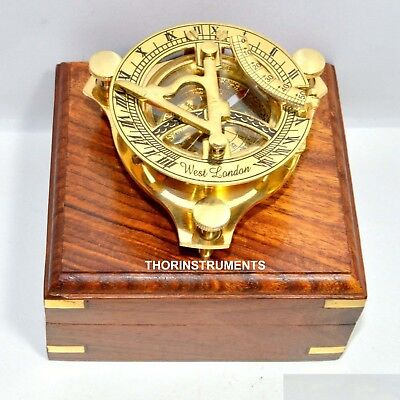 ANTIQUE BRASS SUNDIAL COMPASS WEST LONDON NAUTICAL ITEM WITH WOODEN BOX