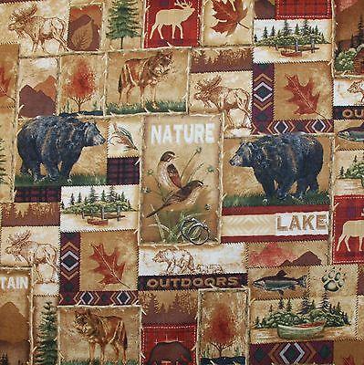 BonEful Fabric FQ Cotton Quilt Brown Tan Black Bear Deer Bird Fish Cabin L Block