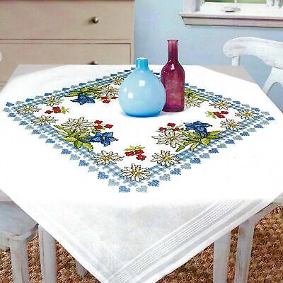Kamaca Stickpackung Blauer Blumenkranz Tischdecke 80x80 cm Kreuzstich vorgezeichnet Baumwolle komplettes Stickset mit Stickvorlage