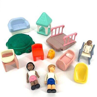 Vintage LITTLE TIKES Dollhouse Furniture Nursery Lot Family Sandbox
