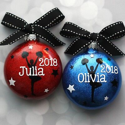 Cheerleader Christmas Gifts (Personalized Cheerleader Team Coach Handcrafted Glitter Christmas Ornament)