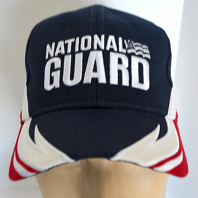 National Guard Embroidered Hat Red White Blue Baseball Ball Cap Lid USA Military Guard White Hat