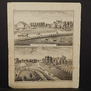 Iowa Lee County Map G.W. Powell Residence Engraving 1874 K14#53