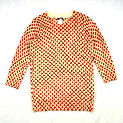 J Crew Apple Orchard Print Thin Sweater Soft Merino Wool Knit 3/4 Sleeve Top XS