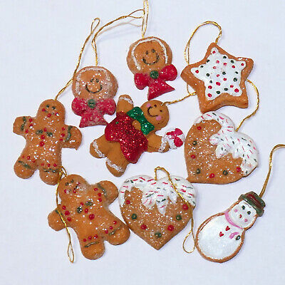 Christmas Ornament FEATHER Tree Ceramic TERRACOTTA Cookies GINGERBREAD Lot of 9