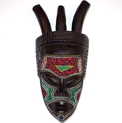 """African Hand Carved Beaded Wooden Tribal MASK 3 Horns Large 19"""" x 9"""" Wall Decor"""