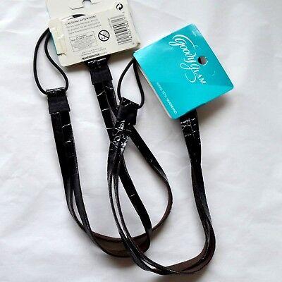 New 2 Goody Glam 04071 Fashion Black Croco Faux Leather Headband Hair Wrap Pull