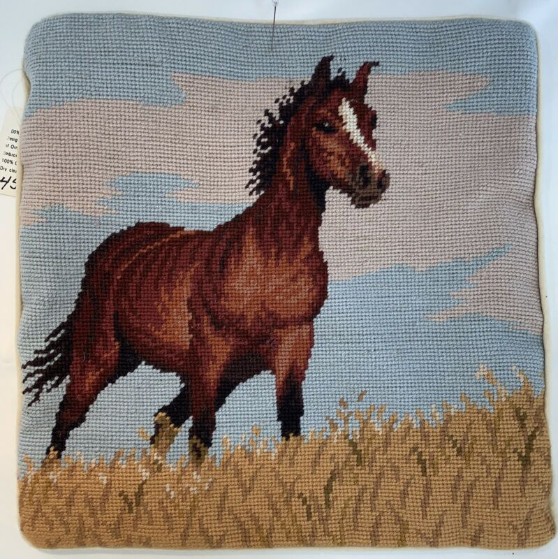 "Horse Equestrian Needlepoint Pillowcase 14"" Square Velveteen Back w/Zipper"