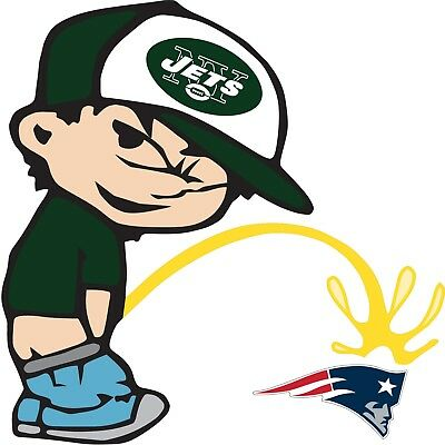 (New York Jets Piss On New England Patriots NFL Color Vinyl Decal Choose SIZES)