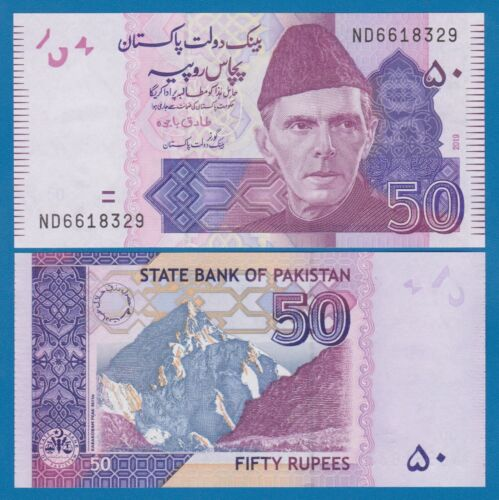 Pakistan 50 Rupees P 47m New Date 2019 UNC Low Shipping! Combine FREE! 47 m