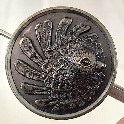 Antique Metal Picture Button, Fancy Pigeon